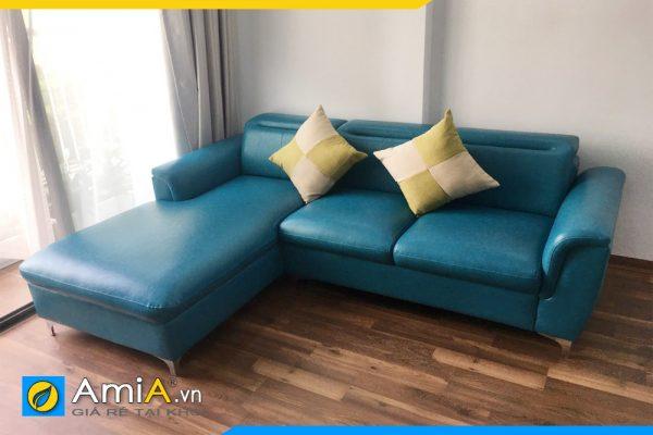 sofa góc chữ L bọc da màu xanh AmiA3120