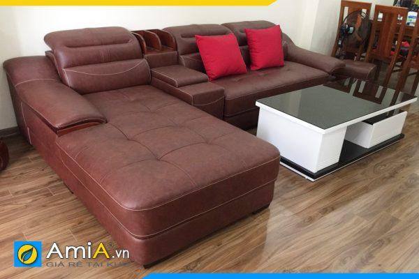 ghế sofa da đẹp kiểu góc AmiA 127B