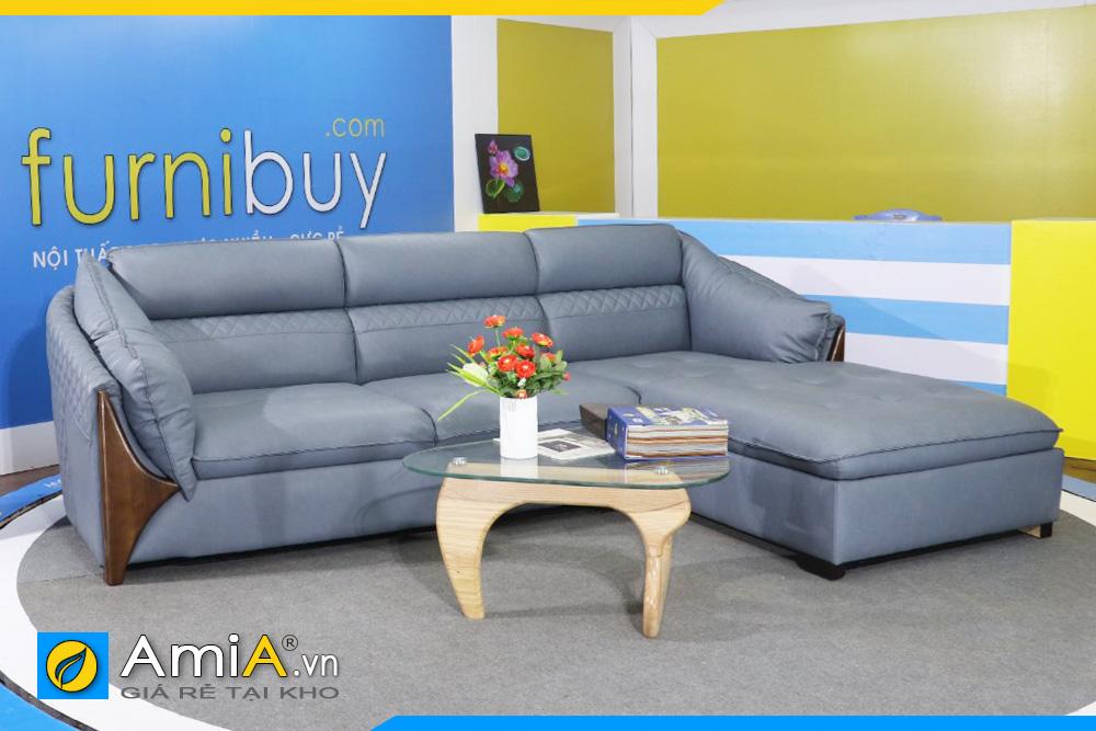 ghế sofa da đẹp tay ốp gỗ AmiA221