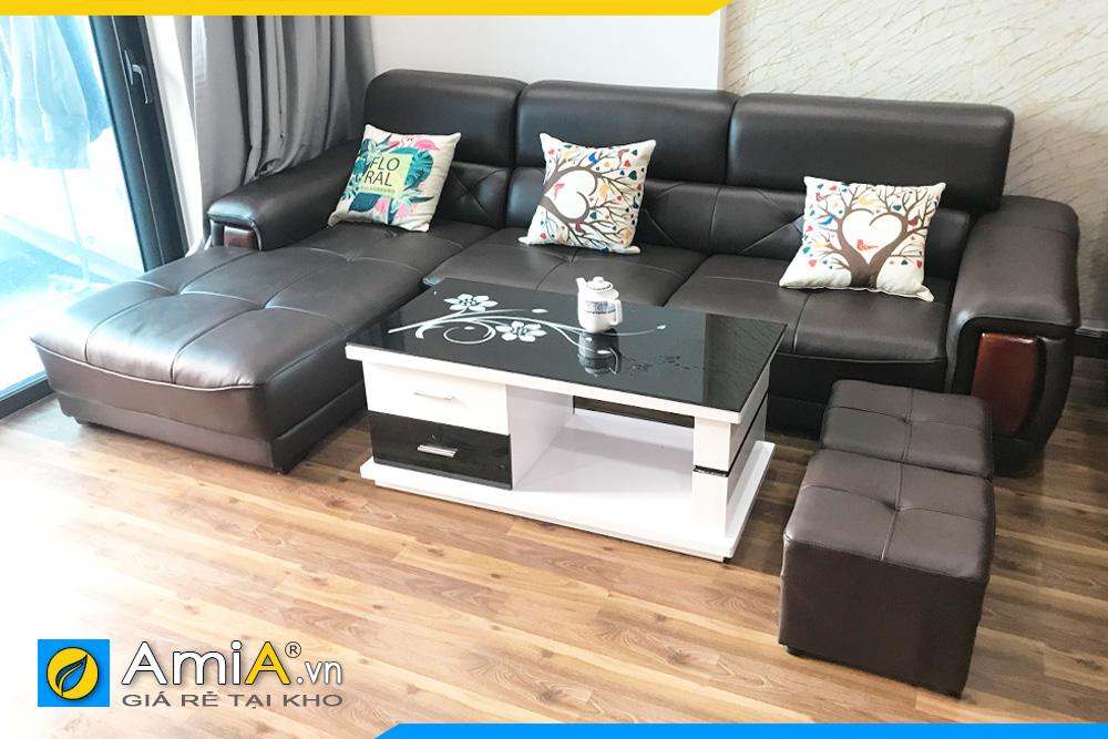 Sofa đẹp bọc da màu đen sang trognj