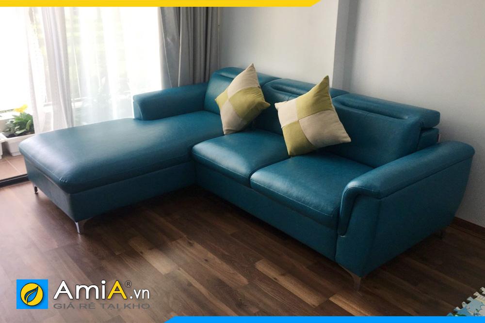 ghế sofa da màu xanh ngọc AmiA3120