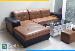 ghế sofa da phối 2 màu đẹp AmiA199