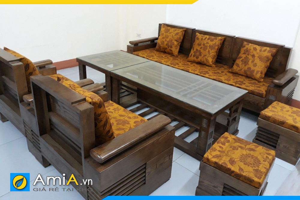ghế sofa gỗ sồi có nệm mút đẹp