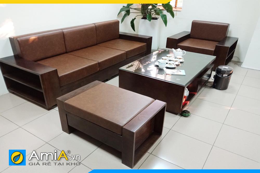 Bộ ghế sofa gỗ sồi nệm mút da sang trọng