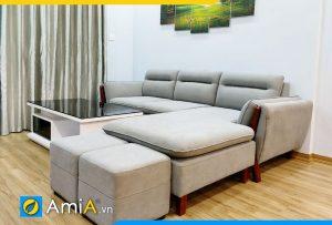 Bộ ghế sofa nỉ đẹp dạng góc chữ L