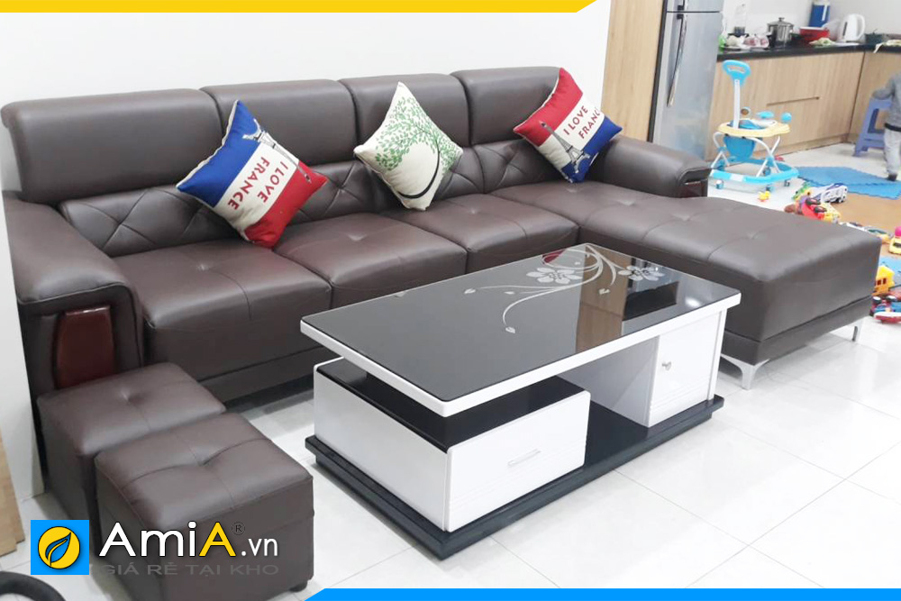 ghế sofa phòng khách đẹp bọc da AmiA193