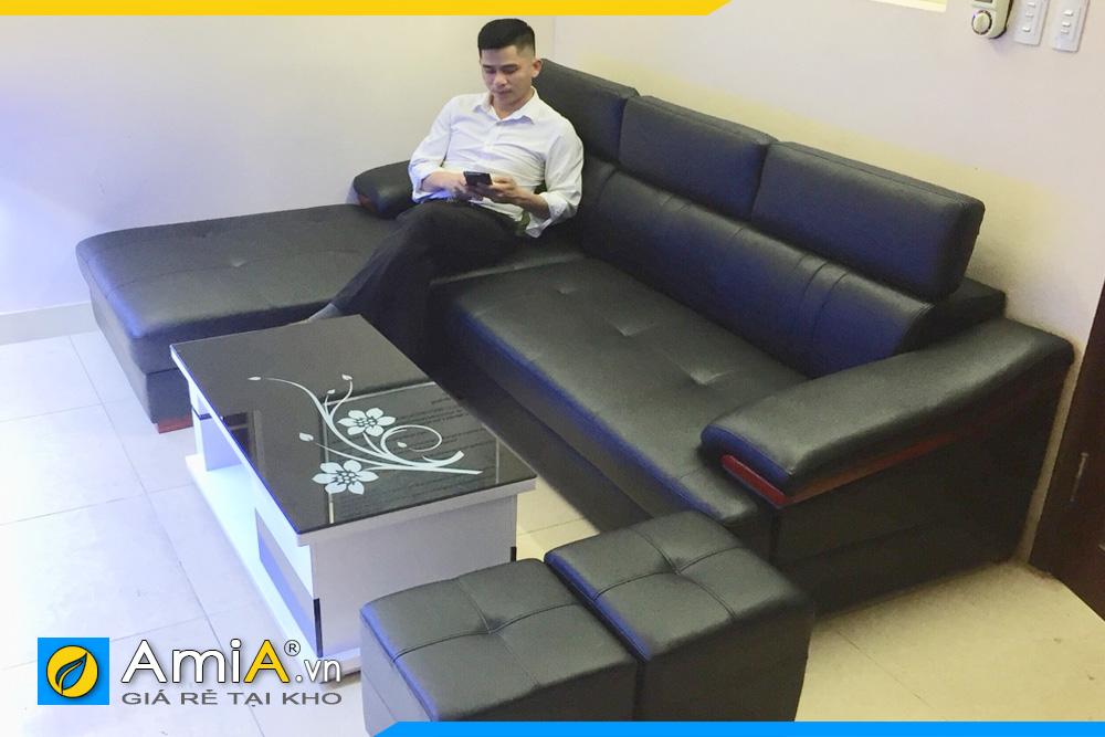 mẫu ghế sofa da màu đen sang trọng AmiA160