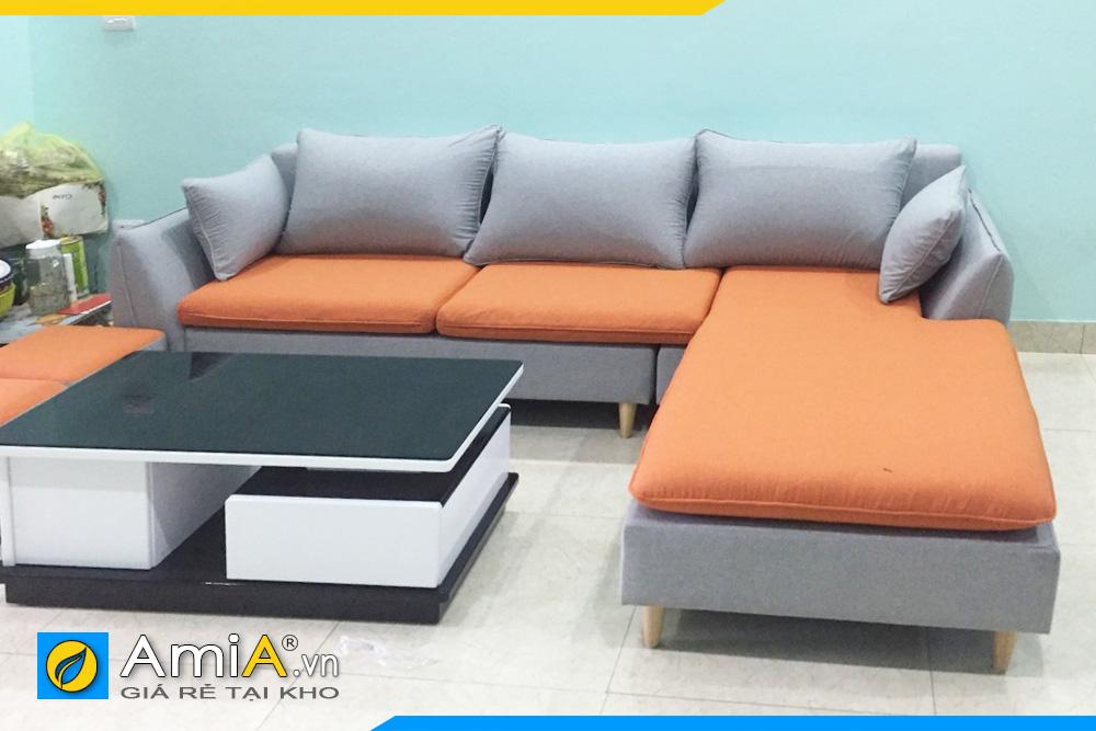 Ghế sofa nỉ vải đẹp phối 2 màu