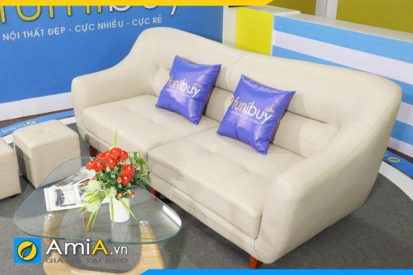 ghế sofa văng da đẹp màu trắng