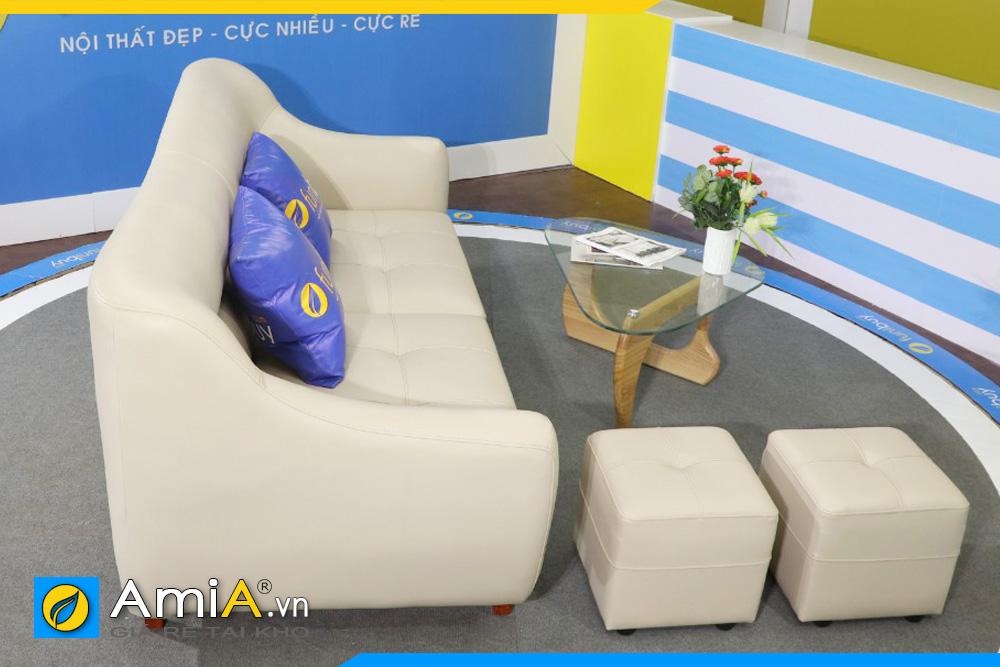 hình ảnh ghế sofa da đẹp màu trắng