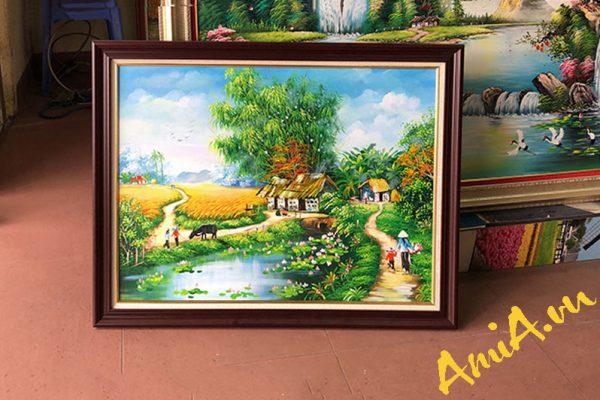 Tranh sơn dầu khổ nhỏ phong cảnh làng quê Amia TSD 545
