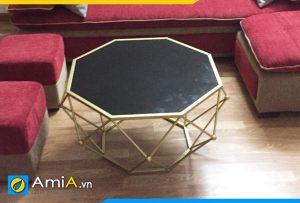 Bàn trà kim cương mặt kính BTR155
