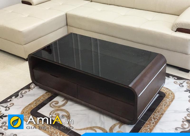 mẫu bàn sofa gỗ tự nhiên mặt kính