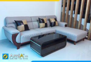 ghế sofa da đẹp tay ốp gỗ AmiA231