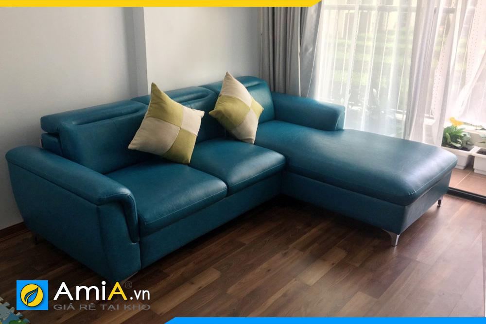 ghế sofa da đẹp màu xanh ngọc