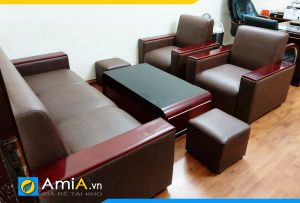 mẫu ghế sofa da tay ốp gỗ đẹp