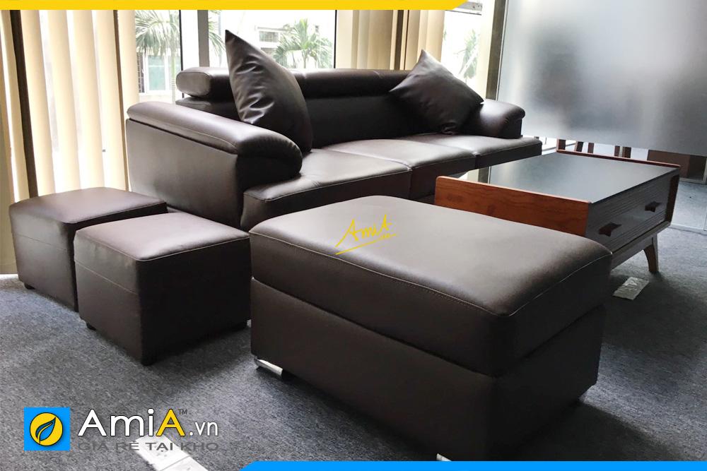Bộ ghế sofa da AmiA257 được đặt làm theo yêu cầu kê tại phòng giám đốc
