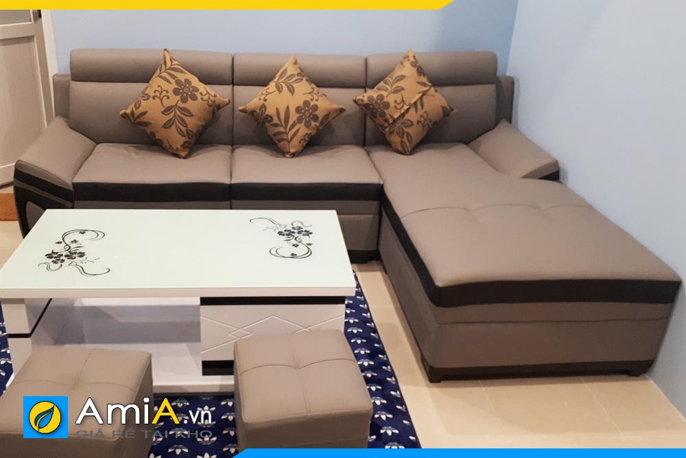 sofa da đẹp màu nâu đất phối đen