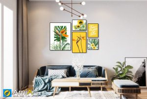 Tranh bộ canvas treo phòng khách hiện đại Amia 1634