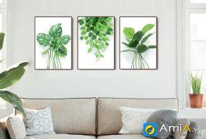 Tranh bộ canvas lá cây nhiệt đới treo tường phòng khách hiện đại amia 4266