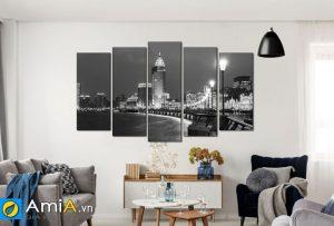 Tranh cảnh đem thượng hải Trung Quốc đen trắng treo tường phòng khách amia CA125
