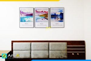 Hình ảnh Tranh canvas 3 tấm treo tường phòng ngủ đẹp hiện đại AmiA PN122
