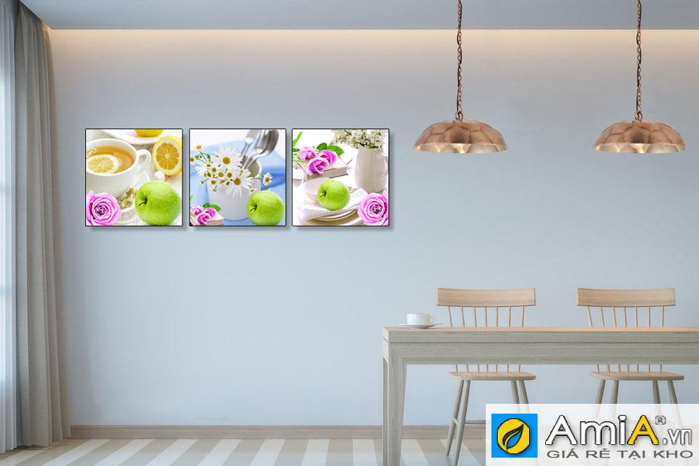 Tranh ghép bộ hoa quả treo phòng ăn hiện đại amia 1530