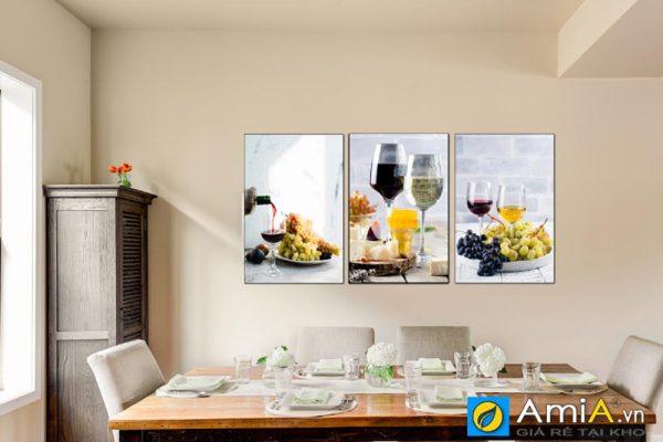 Tranh hoa quả ghép bộ treo phòng ăn Amia 1469