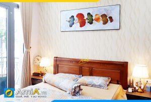 Hình ảnh Tranh lá cây khổ ngang treo đầu giường phòng ngủ đẹp AmiA CV420
