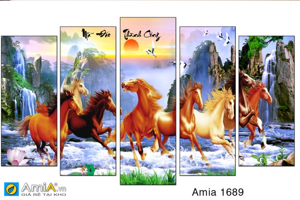 Tranh mã đáo thành công ghép bộ 5 tấm hiện đại AmIA 1689