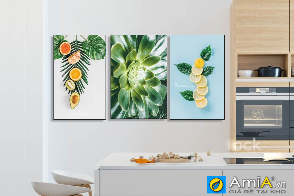 Tranh hoa quả lá cây đẹp treo phòng ăn nhà bếp hiện đại amia 919029