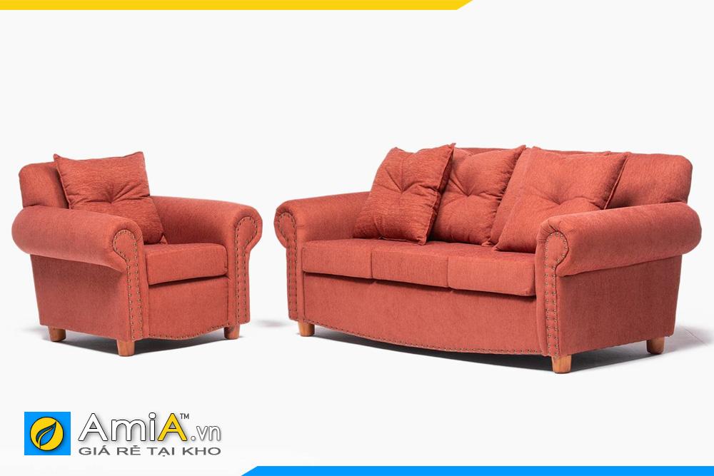 Bộ ghế sofa màu cam kiểu tân cổ điển