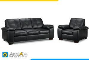 Sofa da màu đen đẹp AmiA 20105A
