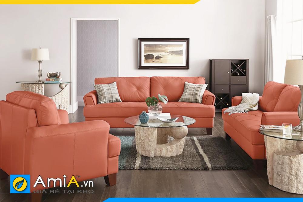 bộ ghế sofa phòng khách màu cam đẹp
