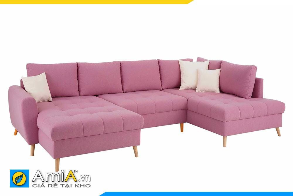 sofa phòng khách lớn màu hồng