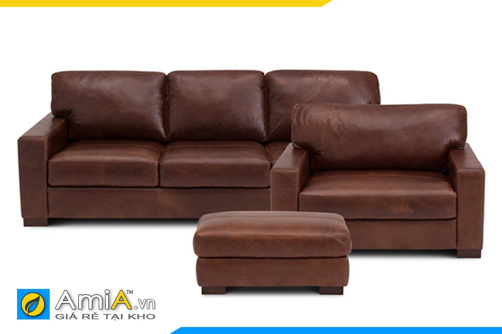 Ghế sofa da đẹp màu nâu da bò