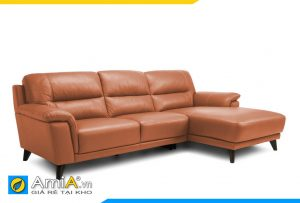 ghế sofa da màu nâu vàng đẹp AmiA 20012