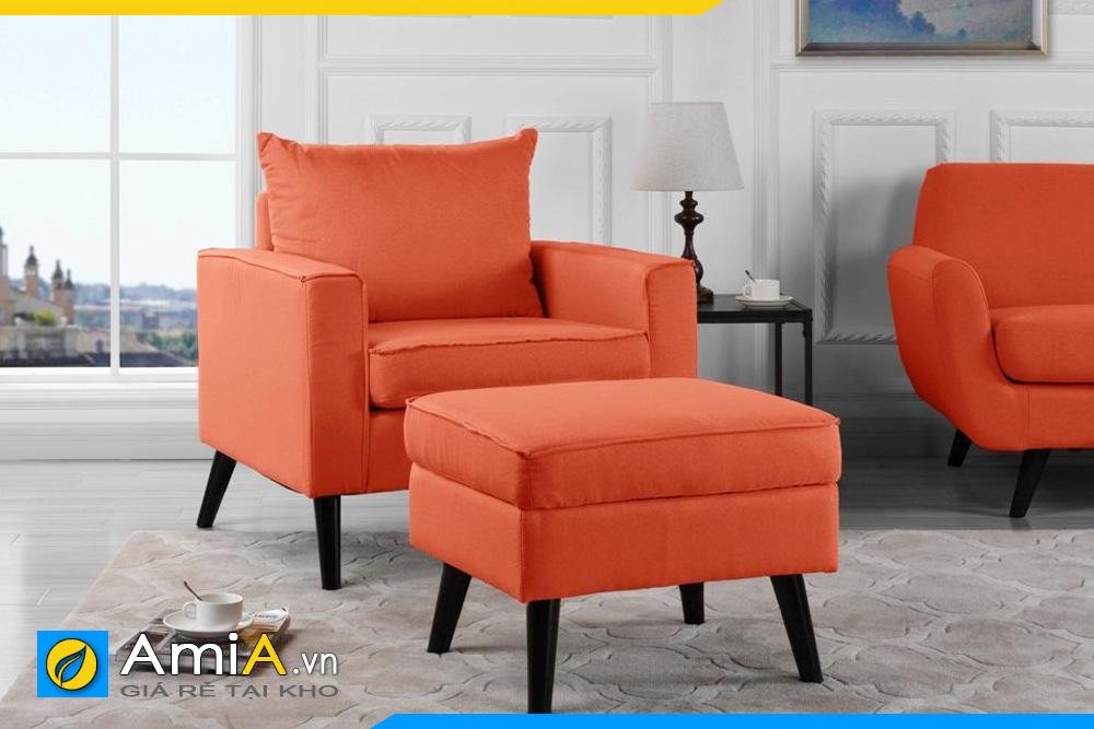 mẫu ghế sofa đơn bọc nỉ màu cam