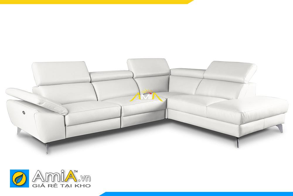 ghế sofa góc đẹp bọc da màu trắng