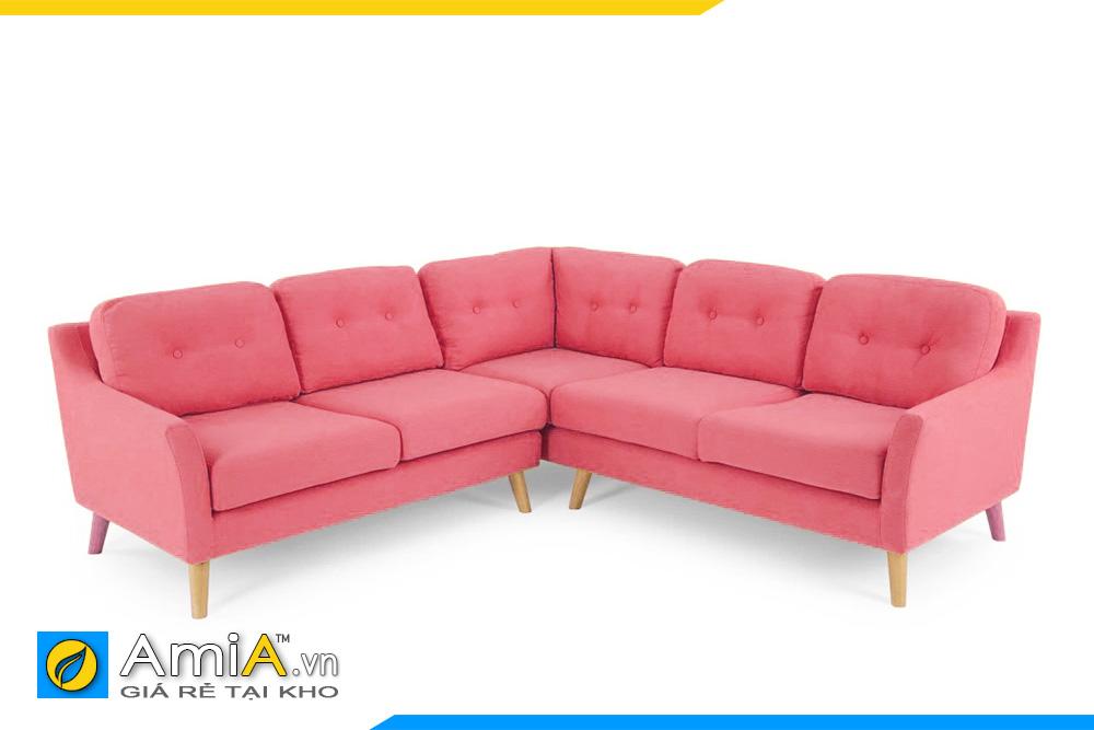 Mẫu ghế sofa góc chữ V màu hồng đậm