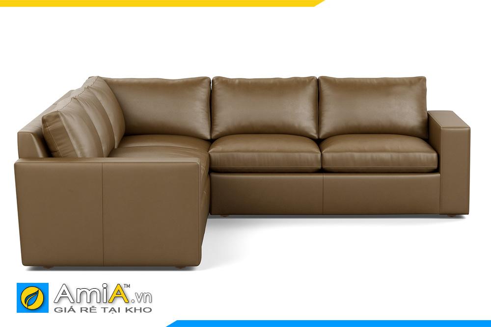 sofa bọc da màu nâu đất