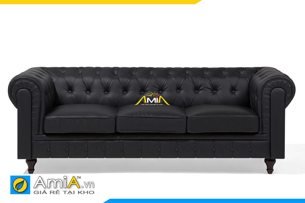 ghế sofa da màu đen tân cổ điển