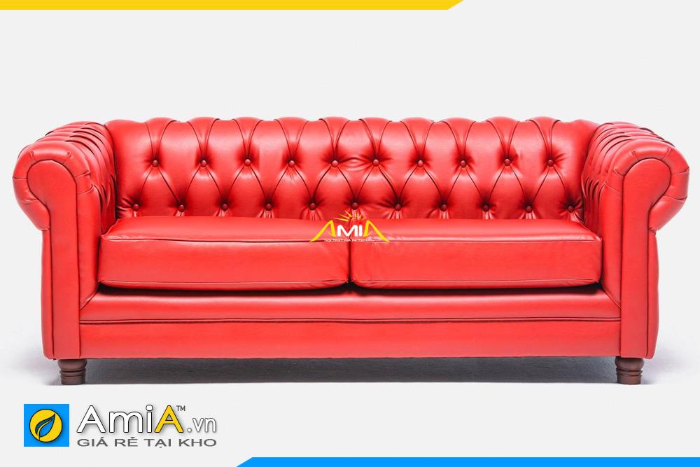 ghế sofa da màu đỏ tân cổ điển