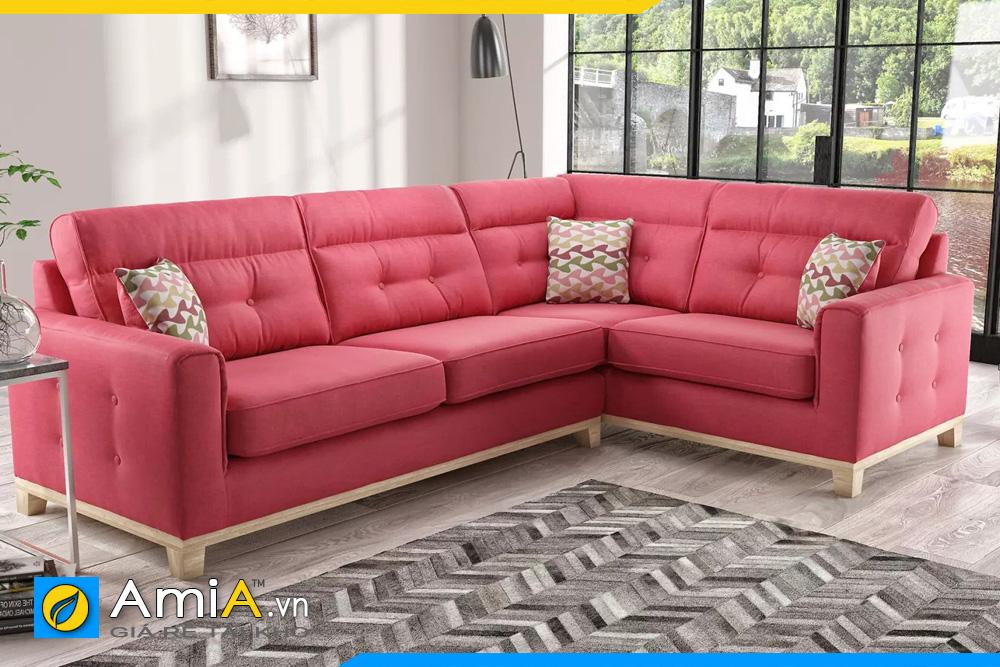 Phòng khách đẹp kê sofa hồng