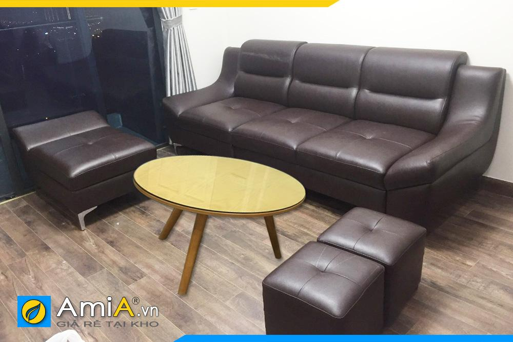 Bộ ghế sofa văng da màu nâu đen