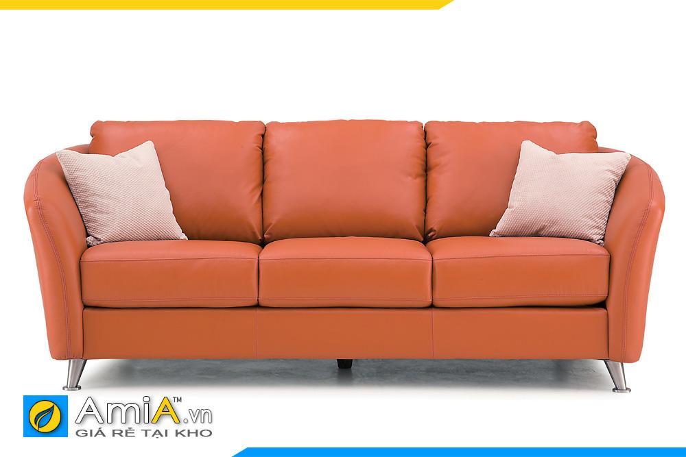 ghế sofa văng da màu cam