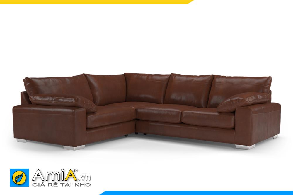 ghế sofa da màu nâu AmiA 20041