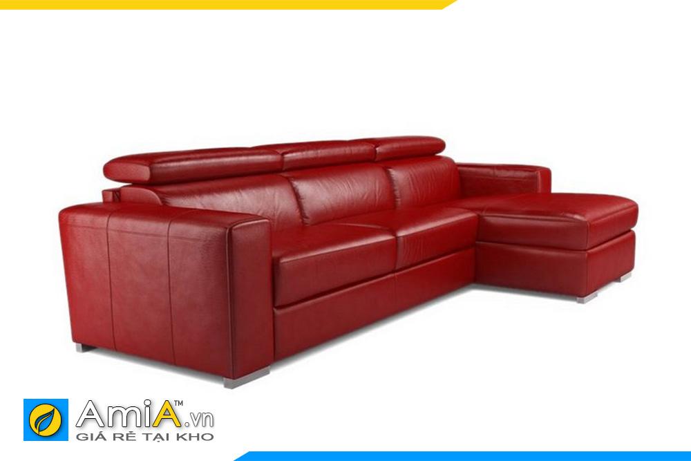 Sofa da màu đỏ kiểu góc