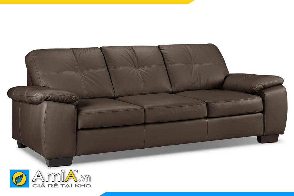 Sofa văng da đẹp màu nâu đất