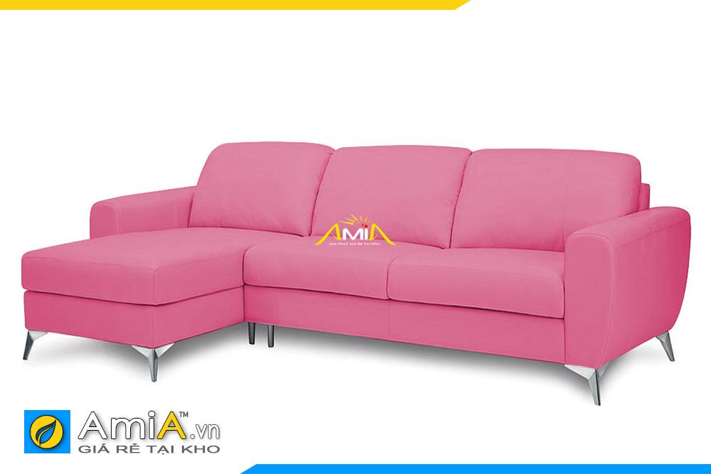 ghế sofa da màu hồng kiểu góc